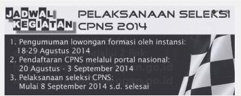 Jadwal CPNS 2014